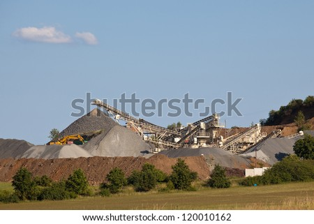 Gravel production with conveyor belts - stock photo