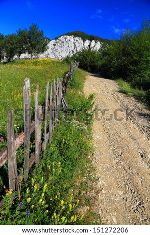 Gravel road and wood fence protecting the green meadow - stock photo