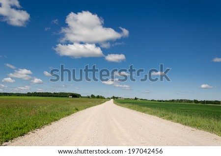gravel road continues along the green village meadow and blue cloud in horizon  - stock photo