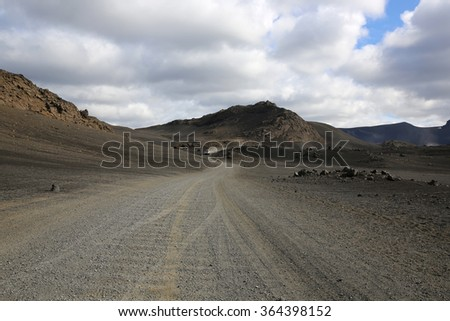 Gravel Road in Iceland - stock photo