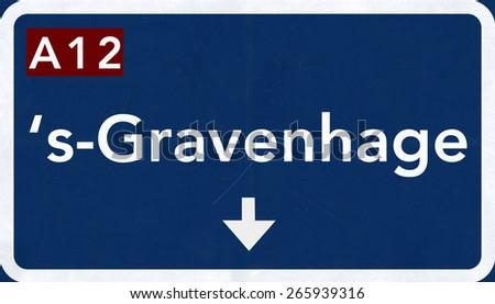 Gravenhage Netherlands Highway Road Sign - stock photo