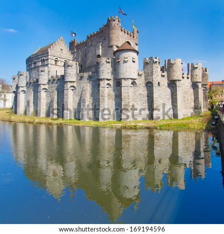 """Gravensteen - Castle of the Counts; Ghent, Belgium. The Gravensteen is a castle in Ghent originating from the Middle Ages. The name means """"castle of the count"""" in Dutch - stock photo"""