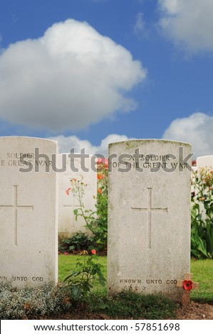 Graves of unknown fallen soldiers in World War I at Tyne Cot cemetery in Passchendaele, Ypres, Flanders - stock photo
