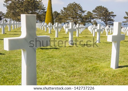 Graves on military cemetery  - Omaha Beach, Normandy France.