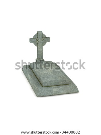 gravestone - 3d render isolated on white - stock photo