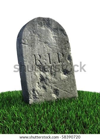 gravestone on the grass - stock photo