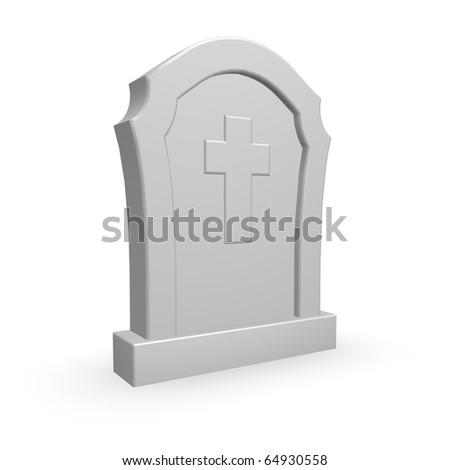 gravestone with christian cross on white background - 3d illustration - stock photo