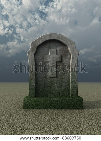 gravestone with christian cross under cloudy blue sky - 3d illustration - stock photo