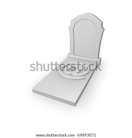 gravestone with email symbol on white background - 3d illustration - stock photo