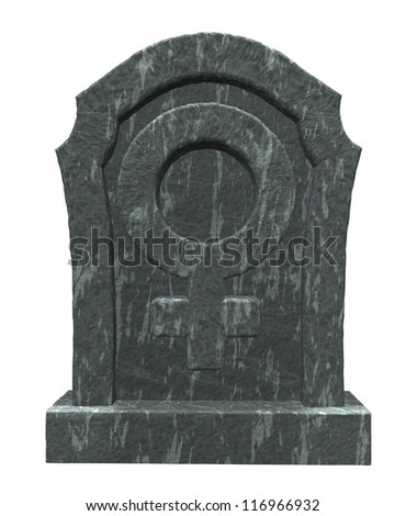 gravestone with female symbol on white background - 3d illustration