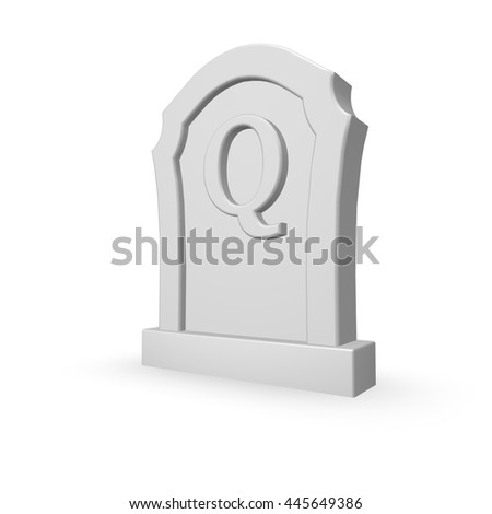 gravestone with uppercase letter q on white background - 3d rendering - stock photo