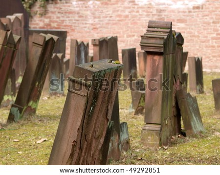 gravestones on jewish cemetery in Frankfurt - stock photo
