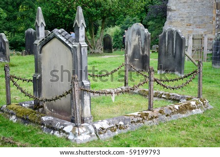 Graveyard at a rural church in Northern England.