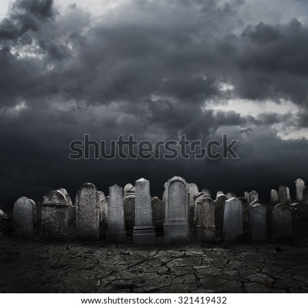 Graveyard at night. Halloween concept.  - stock photo
