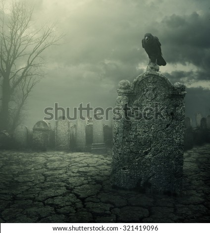 Graveyard at night. Halloween concept. Grain texture added. - stock photo