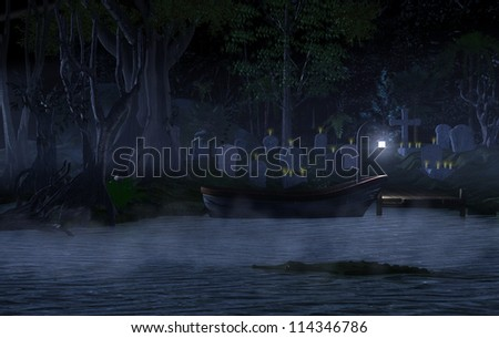 graveyard at the lake with a boat