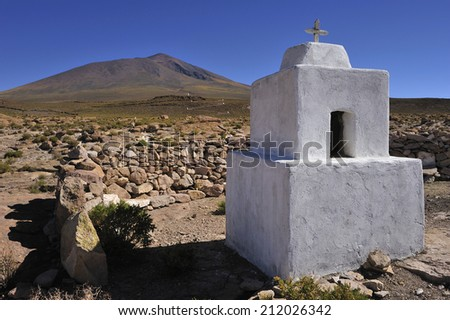 Graveyard in Altiplano high plateau at Andes Mountains, Bolivia - stock photo