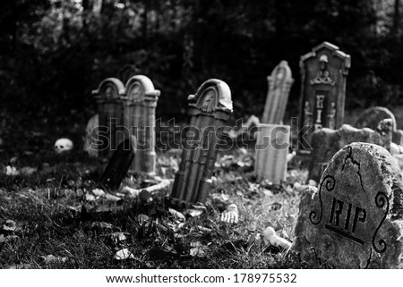 Graveyard in black and white - stock photo