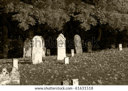 Graveyard in black and white for more creepy effect