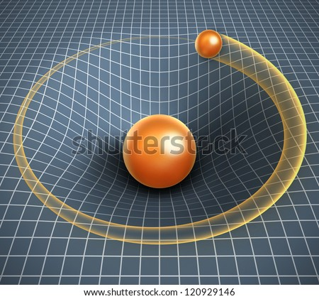 gravity 3d illustration - object affecting space / time and other objects motion - stock photo