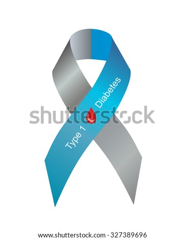 Gray and blue ribbon with blood drop as symbol of diabetes Type 1 - stock photo