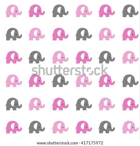 gray and pink elephants pattern seamless raster copy. - stock photo