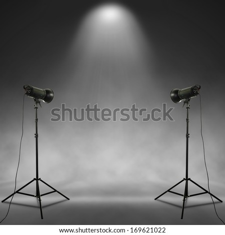 gray background and lamps  - stock photo