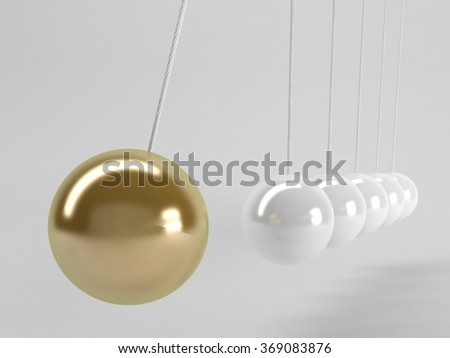 gray balls and the golden one, Newton's cradle, Business 3D Concept. - stock photo