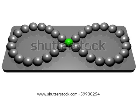 gray balls laid out on a mirrored catwalk as an infinity sign with a green ball in the center of the sign - stock photo