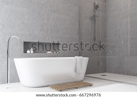 Gray bathroom interior with a white floor, a shower with glass doors, a white tub and a shelf above it. 3d rendering mock up