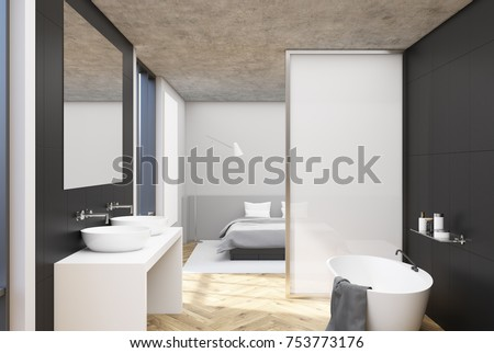 Gray bathroom interior with a wooden floor, a large window, a double sink and a white bath tub with a towel. A bedroom is seen in the background. 3d rendering mock up