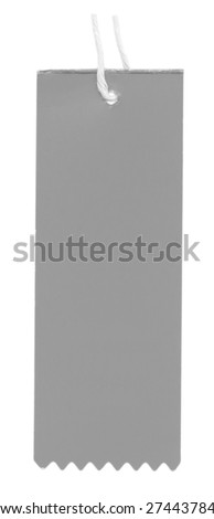 gray blank cardboard tag isolated on white background