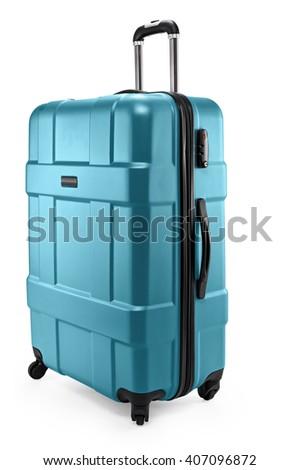 gray-blue suitcase plastic half-turned - stock photo
