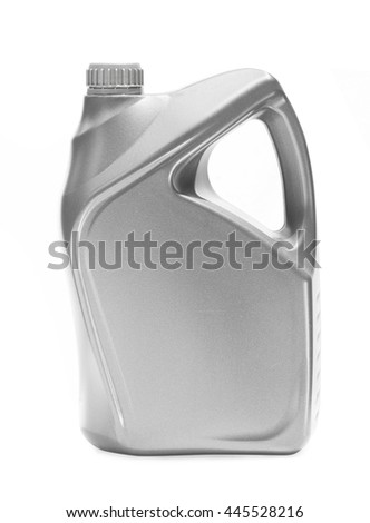 Gray bottle container oil lubricant motor car on white background - stock photo