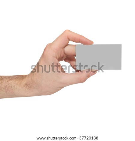 Gray card blank in a hand isolated on white.