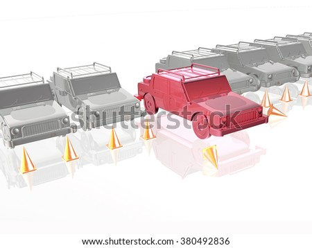 Gray cars and red car on white reflective background.