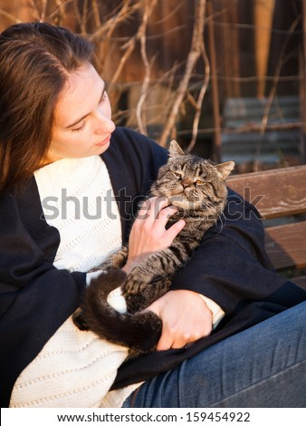 gray cat in the hands of a young girl