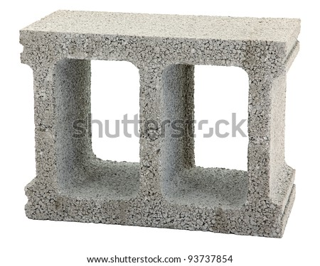 Gray Cement Cinder Block Isolated On White Background - stock photo