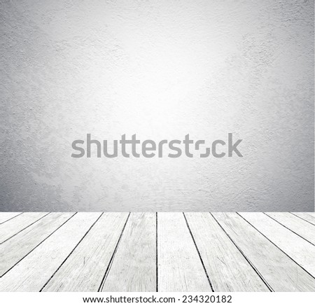 Gray cement wall and vintage wooden floor, perspective view, grunge background, template, display