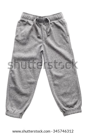 Gray children's sweatpants with ties isolated on the white - stock photo