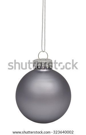 Gray christmas bauble isolated on white background - stock photo