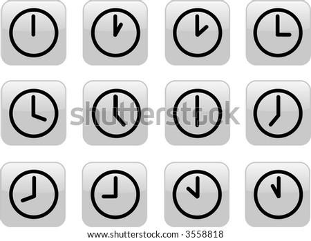gray clock icons - stock photo