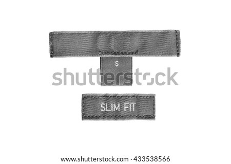 Gray clothes label lettered slim fit on white background