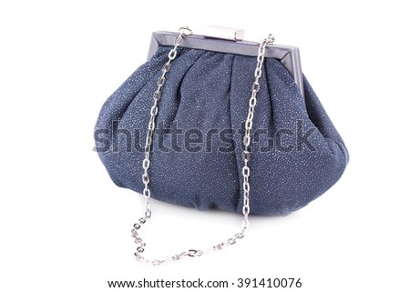 Gray clutch bag isolated on white background. - stock photo