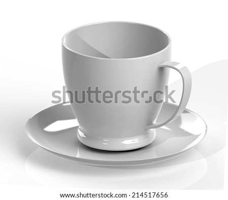 gray coffee cup and saucer with shadow isolated on white background