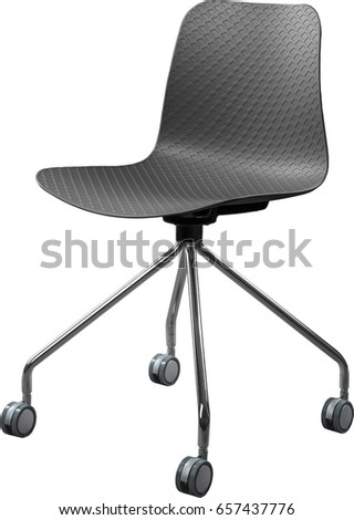 Gray color plastic chair, modern designer. Swivel chair isolated on white background. furniture and interior