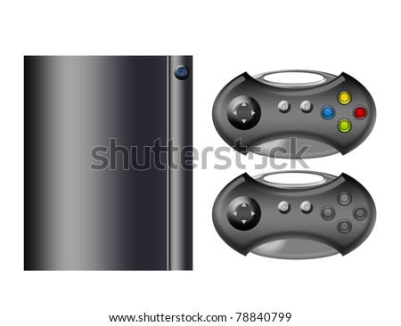 gray console with controls isolated  over white background - stock photo