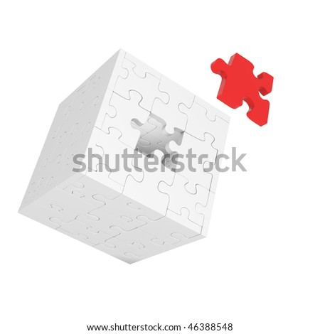 Gray cube of puzzles with red element on white background - stock photo