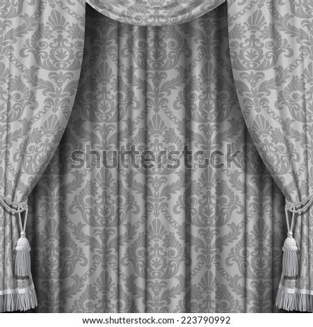 Gray curtain with Baroque ornament. Square theater background. Artistic poster - stock photo