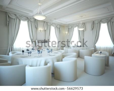 gray 3d interior salon and classic stile - stock photo